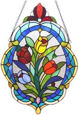 Stained Glass Panel for Window Tiffany Style Suncatchers Tulips Victorian NEW