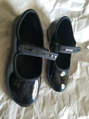 Toddler Girls TRIMFOOT Black Dance Tap Shoes Velcro/ NO Laces Size 8