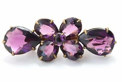 Antique Amethyst Purple Glass Paste Rhinestone Clover Figural Brooch Pin Jewelry