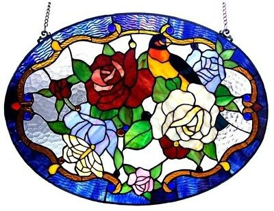 Stained Glass Panel for Window Tiffany Style Suncatchers Birds Roses Victorian