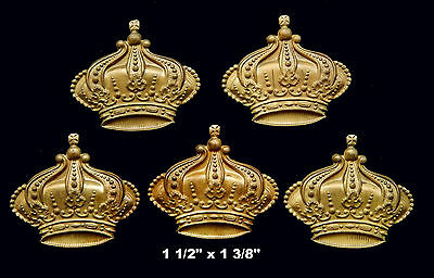 Vintage Brass Stamping  Embossed Ornate Medium Crown /  1 pc.