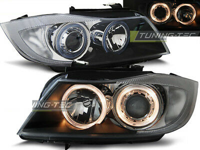 Coppia di Fari Anteriori BMW Serie 3 E90 E91 2005 - 2008 Angel Eyes Neri DEPO IT