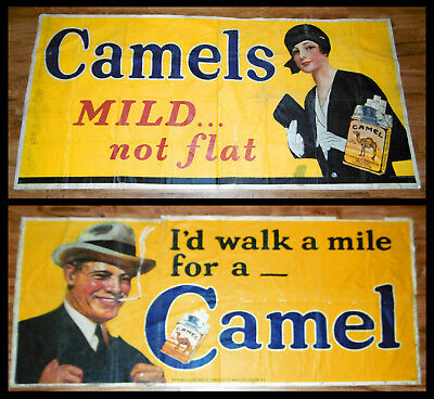 1925 - 1930 EXTREMELY RARE CAMEL CIGARETTES Store Signs by Grinnell Litho LOT
