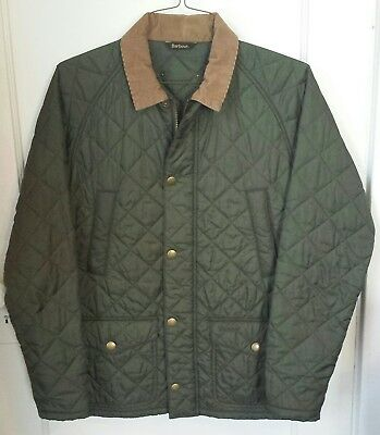 barbour men's quilted jacket medium Olive brown corduroy collar new w/o tag