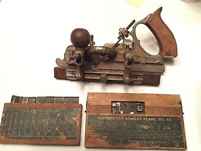 Vintage Antique STANLEY #45 Combination Plane with 2 Boxes Cutters (21 total)
