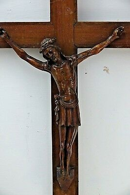 Very Beautiful Large Carved Wood Crucifix - Signed And Dated 1941 - Rare - L@@k