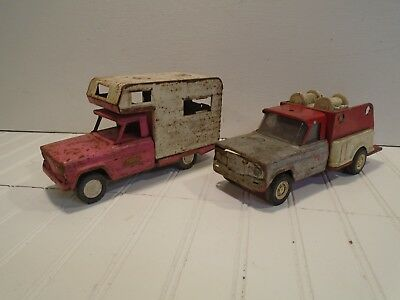 Tonka Jeep Camper and Fire Truck Lot of 2 Vintage 1960s