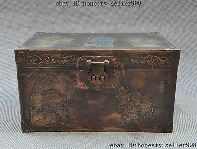 "9""Collect Chinese bronze Three Kingdoms figures box boxes container"