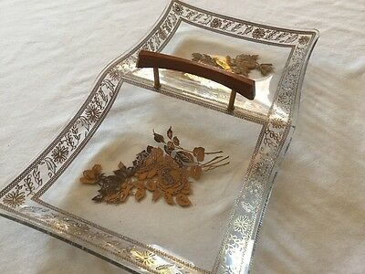Vintage Mid Century Murano? Gold Gilt Floral italian Glass Divided Tray/Candy