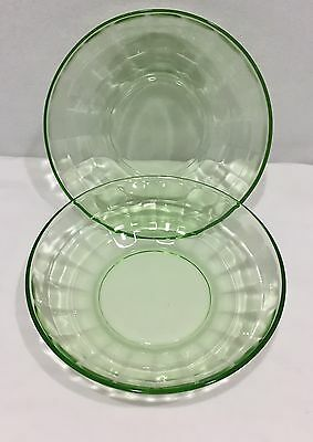 Vintage Anchor Hocking Green Cereal Bowls Set Of Two Block Optic EUC C
