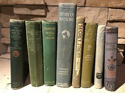 Lot of 8 Vintage Antique Blue & Green Shabby Decorative Display Books Rustic