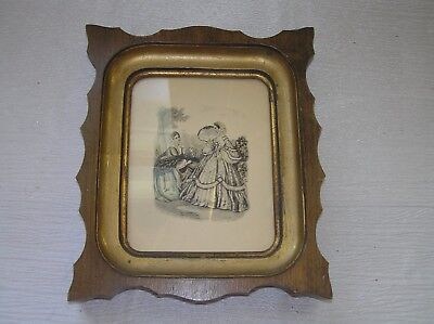 Vintage Antique Lithograph of Two Victorian Women in Scalloped Wood Frame Under