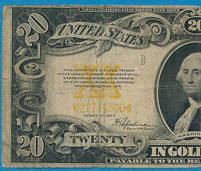 $20. Fr.. 1187 1922 Gold Seal Gold Certificate Average Well Circulated