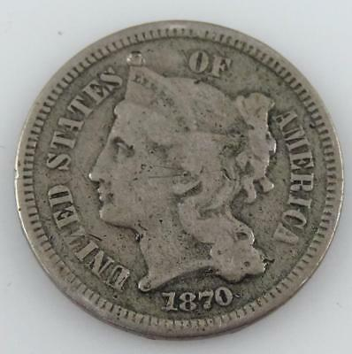 1870 III (3) Cent, Nickel Coin - GREAT DETAIL