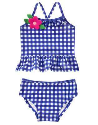 Gymboree Girls Clematis Blue White Gingham Flower Accent Tankini Swim Set Sz: 4T