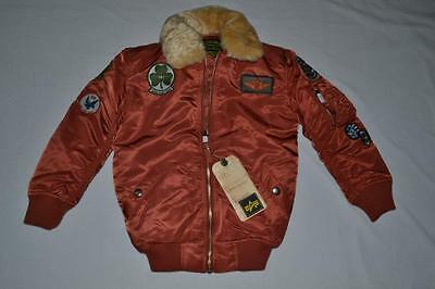 Authentic Alpha Boys Maverick Jacket Patches Rust Youth Xxs 4/5 Brand New