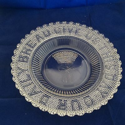 """Give Us This Day Our Daily Bread Serving Plate Glass Wheat Sheaf Scalloped 11"""""""