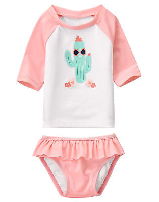 NEW NWT Gymboree 2 Piece Swim Suit Bathing Suit Baby Girls Sizes Cactus Pink