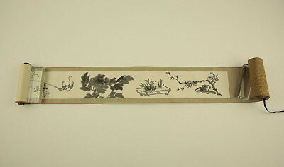 """JAPANESE PICTURE SCROLL """"Various Flowers""""  @s886"""