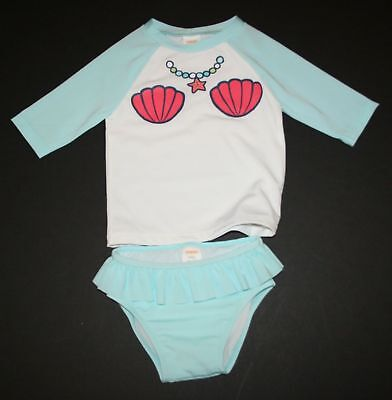 NWT Gymboree 2 Piece Swim Bathing Suit Baby Girls Size 3-6 Month Teal Shells