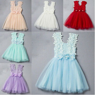 Kids Baby Girl Princess Lace Tulle Flower Tutu Sleeveless Party Short Dress New