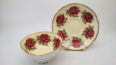Paragon A3514 / 2 Red Cabbage Roses Border Cup & Saucer Set With Hairline Crack