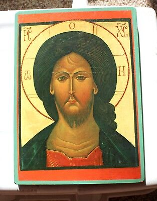 Our Lady of Clear Creek Abbey-Christ Pantocrator Orthodox Icon Wood Plaque 10x7