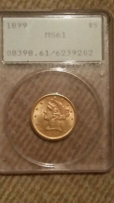 1899 $5 Gold Liberty Head PCGS 61 Old Green Holder OGH undergraded Five dollar
