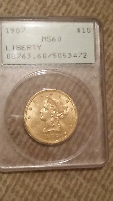 1907 $10 Ten Gold Liberty Head PCGS 60 Old Green Holder OGH flashy gold coin