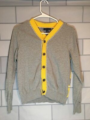 Tommy Hilfiger Boys Gray/yellow Button Up Cardigan Sweater Size Large (12-14)