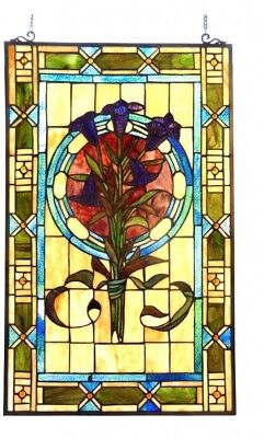 Stained Glass Panel for Window Tiffany Style Suncatchers Victorian Purple Iris