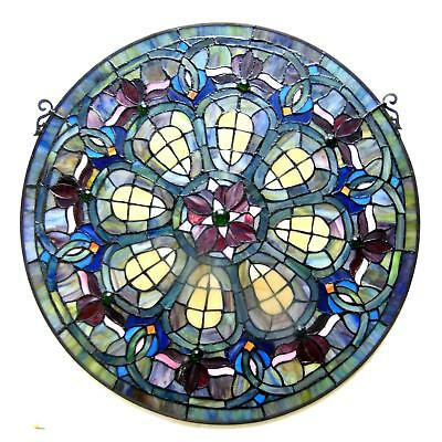 Stained Glass Panel for Window Tiffany Style Suncatchers Victorian Look Round