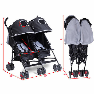 Folding Portable Twin Two Baby Infant Double Stroller Kid Jogger Travel Basket