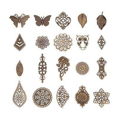 Pandahall 120 PCS 20- Antique Bronze Nickel Free Iron Filligree Findings for