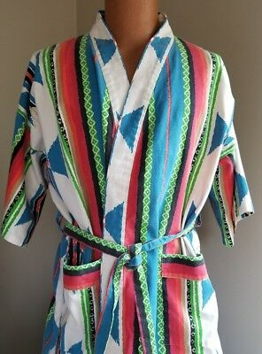Vintage Southwestern Aztec Robe Wrap Turquoise White Red Green Cotton Pockets