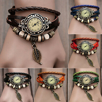 Fashion Women Girl Vintage Charming Bracelet Faux Leather Quartz Wrist Watch ME2