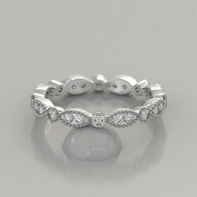 14k White Gold Antique Round Diamond Vintage Engagement Band Ring Eternity .25ct
