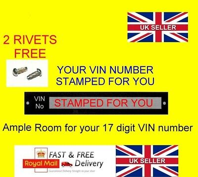 STAMPED Chassis VIN plate for Trailer Horse box quad bike boat car catering ID