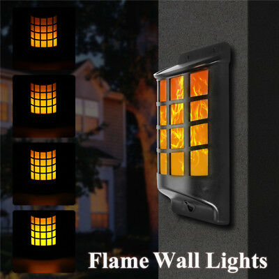 AU Solar Power 66 LED Flickering Flame Wall Light Outdoor Garden Path Fence Lamp