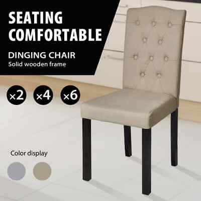 vidaXL 2/4/6x Dining Chairs Fabric Linen Kitchen Stool Seat Beige/Dark Grey