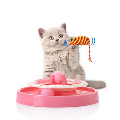 Kitten Pet Cat Teaser Feather Interactive Play Fun Toys Fun Rotating Mouse Toy