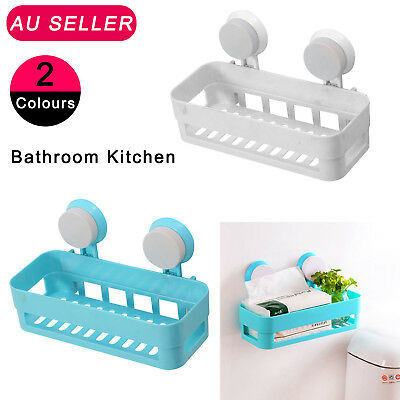 Plastic Suction Cup Kitchen Bathroom Corner Storage Rack Organizer Shower Shelf