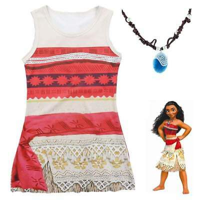 Disney Moana Princess Dress with FREE Necklace Cosplay Costume - Size 4-9 years