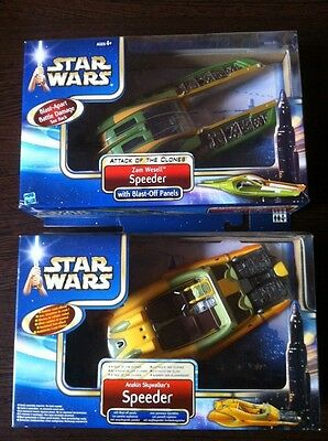 Anakin & Zam Wesell Speeder,Attack Of The Clones, Star Wars 2002 Hasbro,ovp Misb