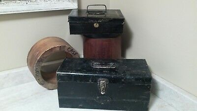 lot of 2 Vintage Black Metal Storage Tool Box Chest, & metal cash box Steampunk