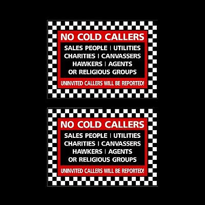 2x Stop Cold Calling Door Sticker No Canvassers Callers Religious Groups Sign