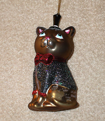 Glass BROWN CAT IN TUXEDO & TOP HAT Christmas Ornament - NEW