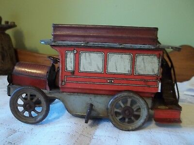 Vintage Windup Tin Lithographed OROBR  Germany Double Decker Bus