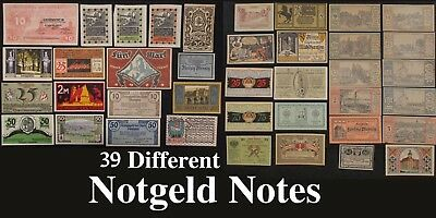 (39x) NOTGELD NOTES * 1920's * Different Denominations * ALL UNCIRCULATED
