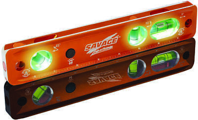 Savage TL Lighted Torpedo Level, 0.019 in/0.0005 in 9 in L, Aluminum